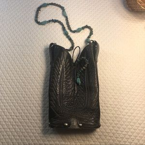 Genuine Leather Boot Purse with Aquamarine Purse